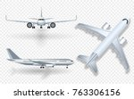 white airplane with shadow icon ... | Shutterstock .eps vector #763306156