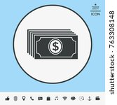 money banknotes stack with... | Shutterstock .eps vector #763308148