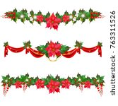 christmas garland with... | Shutterstock .eps vector #763311526