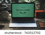 laptop mockup isolated | Shutterstock . vector #763312702