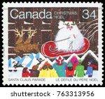 canada   circa 1985  a greeting ... | Shutterstock . vector #763313956