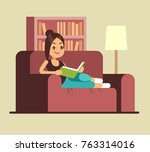 young woman reading book on... | Shutterstock .eps vector #763314016