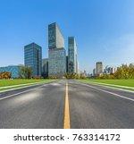 city road through modern... | Shutterstock . vector #763314172