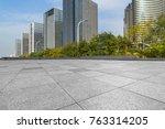 empty pavement and modern... | Shutterstock . vector #763314205
