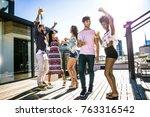 multi ethnic group of friends... | Shutterstock . vector #763316542