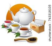 illustration of tea  icon | Shutterstock . vector #763318105