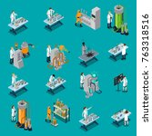 scientist isometric icons set... | Shutterstock . vector #763318516