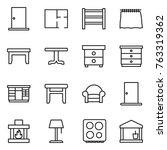 thin line icon set   door  plan ... | Shutterstock .eps vector #763319362