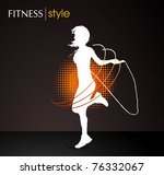 girl jumping with the skipping... | Shutterstock .eps vector #76332067