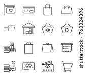 thin line icon set   shop... | Shutterstock .eps vector #763324396