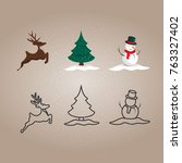 christmas and new year icon set ...   Shutterstock .eps vector #763327402