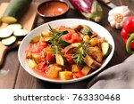 ratatouille healthy vegetarian... | Shutterstock . vector #763330468