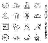 thin line icon set   globe  bio ... | Shutterstock .eps vector #763333048