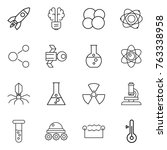 thin line icon set   rocket ... | Shutterstock .eps vector #763338958