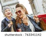 stylish autumn in paris....   Shutterstock . vector #763341142