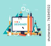 designer workplace and tools.... | Shutterstock .eps vector #763345522