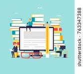 online library  e books. flat... | Shutterstock .eps vector #763347388
