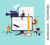 blogger  video shooting. flat... | Shutterstock .eps vector #763348282
