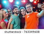 group of happy friends taking... | Shutterstock . vector #763349608
