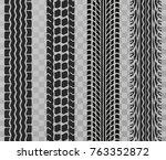 black tire tracks wheel car or... | Shutterstock .eps vector #763352872