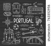 hand drawn portugal vector... | Shutterstock .eps vector #763352956