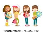 pupils with school supplies | Shutterstock .eps vector #763353742