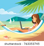 woman with laptop at the beach | Shutterstock .eps vector #763353745
