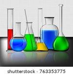 different laboratory glassware | Shutterstock .eps vector #763353775