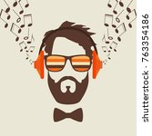hipster men face with headphone ... | Shutterstock .eps vector #763354186