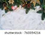 christmas decorated evergreen... | Shutterstock . vector #763354216