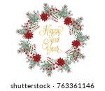 christmas wreath hand drawn...   Shutterstock .eps vector #763361146