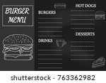 burger menu  fast food template ... | Shutterstock .eps vector #763362982