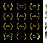 gold award wreaths on black... | Shutterstock .eps vector #763364866