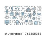 ai technology concept... | Shutterstock .eps vector #763365358