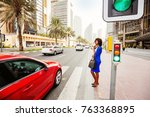 beautiful african woman waiting ... | Shutterstock . vector #763368895