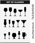 set of drink glasses icons.... | Shutterstock .eps vector #763369048