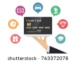 hand holding credit card in... | Shutterstock .eps vector #763372078