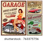 set of vintage car  metal signs ... | Shutterstock .eps vector #763375756