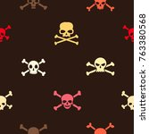 seamless pattern with skulls... | Shutterstock .eps vector #763380568