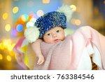 a beautiful newborn baby in a... | Shutterstock . vector #763384546