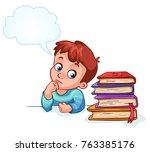 boy does not want to learn and... | Shutterstock .eps vector #763385176