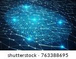 3d illustration fingerprint...   Shutterstock . vector #763388695
