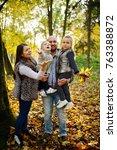 happy caucasian family of mom...   Shutterstock . vector #763388872