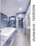 the interior of bathroom. | Shutterstock . vector #763392346