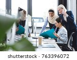 group of multicultural... | Shutterstock . vector #763396072