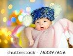 beautiful newborn baby lies in... | Shutterstock . vector #763397656
