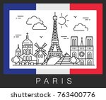 paris  france. city attractions ... | Shutterstock .eps vector #763400776