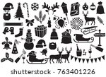 christmas and new year icons... | Shutterstock .eps vector #763401226