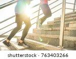 runners friends training... | Shutterstock . vector #763403266