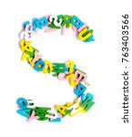 Small photo of Colorful wood alphabet letters on a white background,font letter S